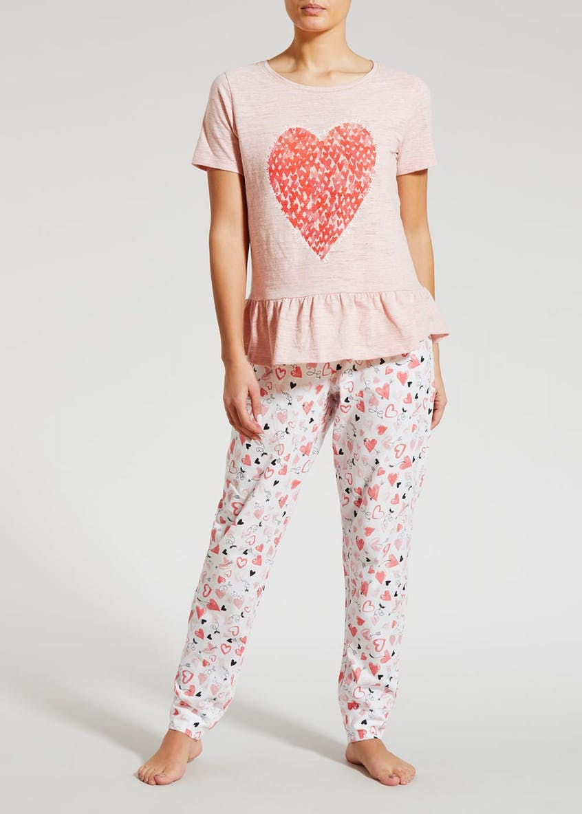 Heart Peplum Pyjama Top