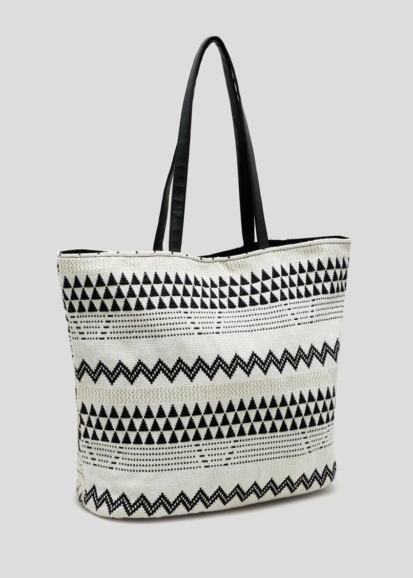 Chevron Embellished Beach Bag