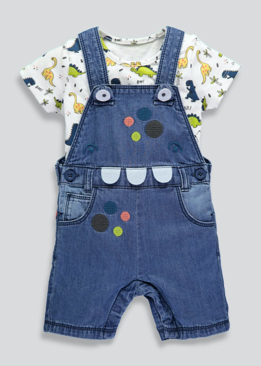 Boys Dinosaur Denim Dungaree & Top Set (Newborn-18mths)