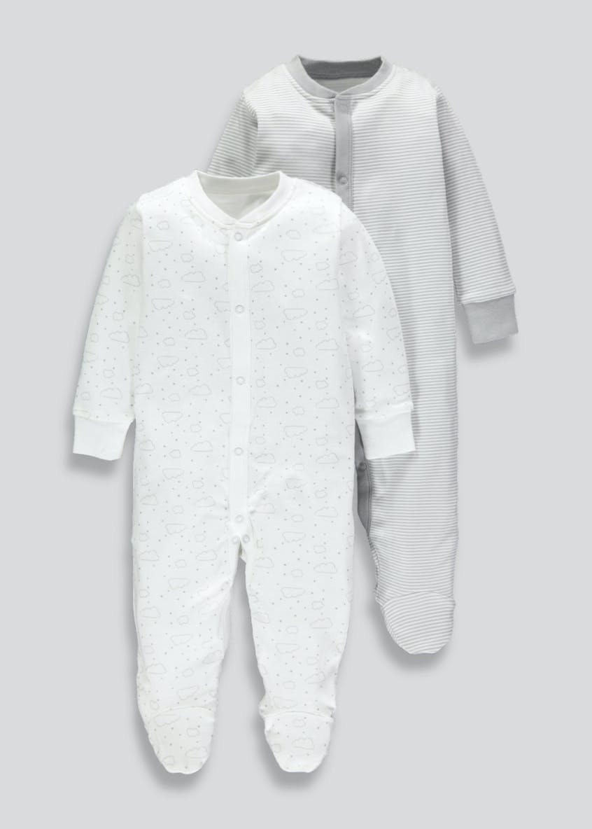 Unisex 2 Pack Sleepsuits (Tiny Baby-18mths)