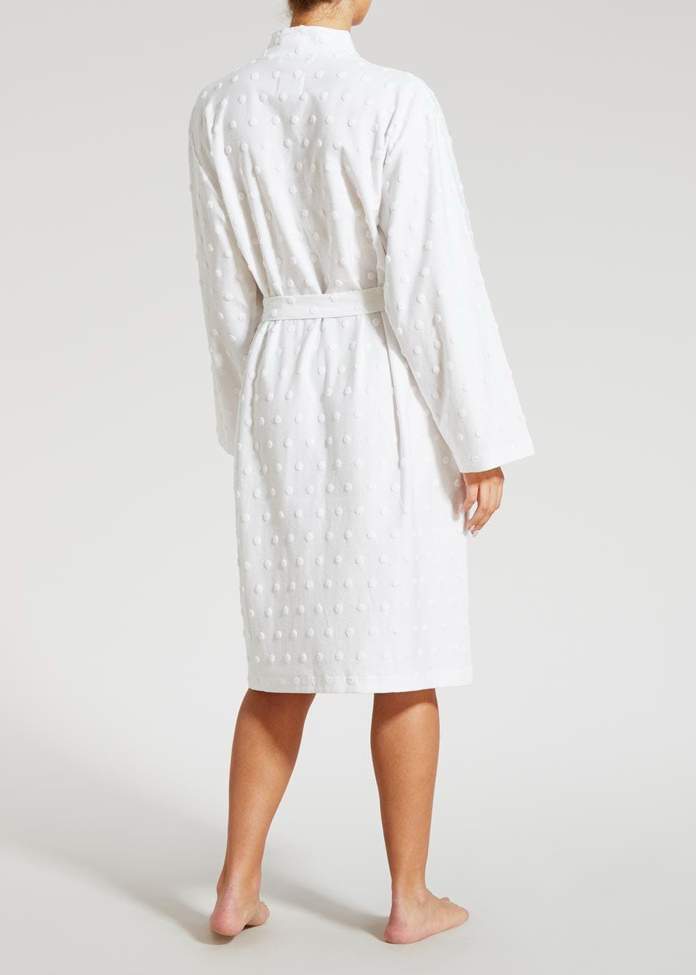 Spot Towelling Detail Dressing Gown – White – Matalan