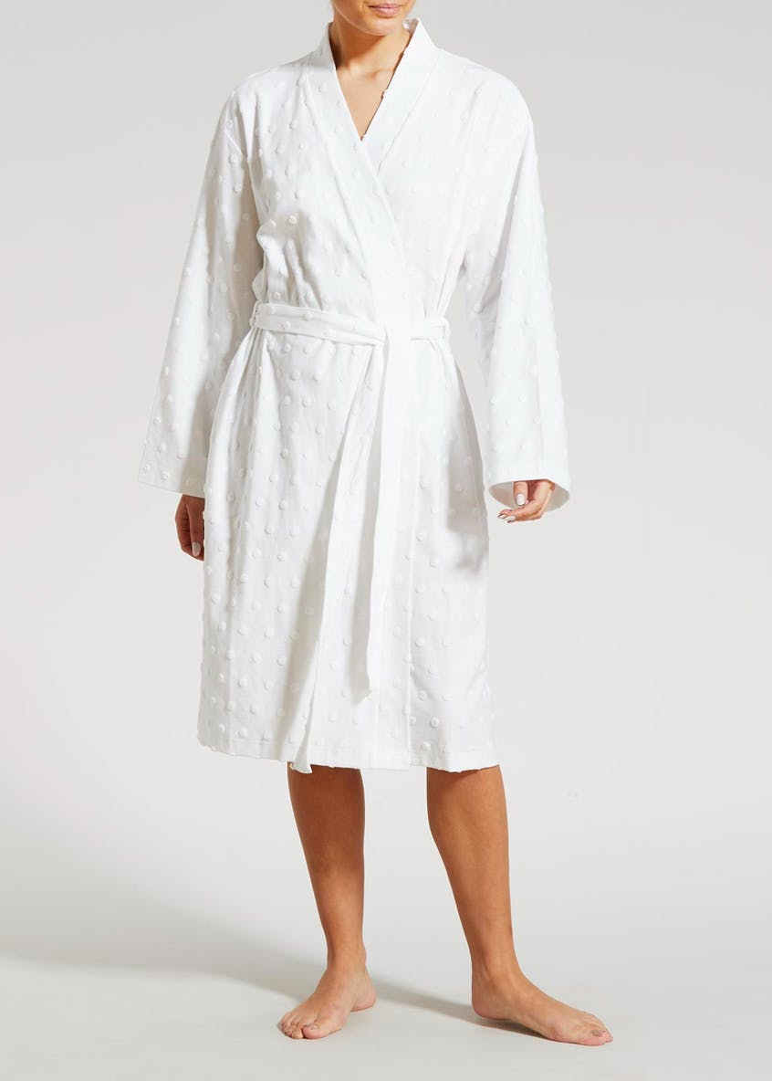 Spot Towelling Detail Dressing Gown