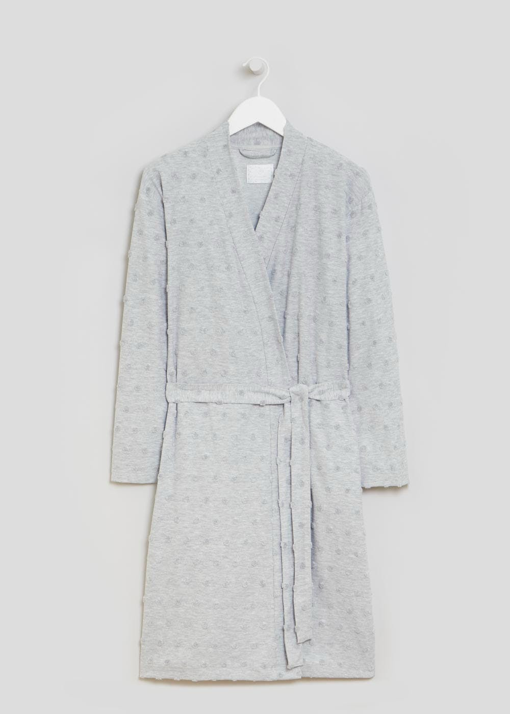 Spot Towelling Dressing Gown – Grey – Matalan
