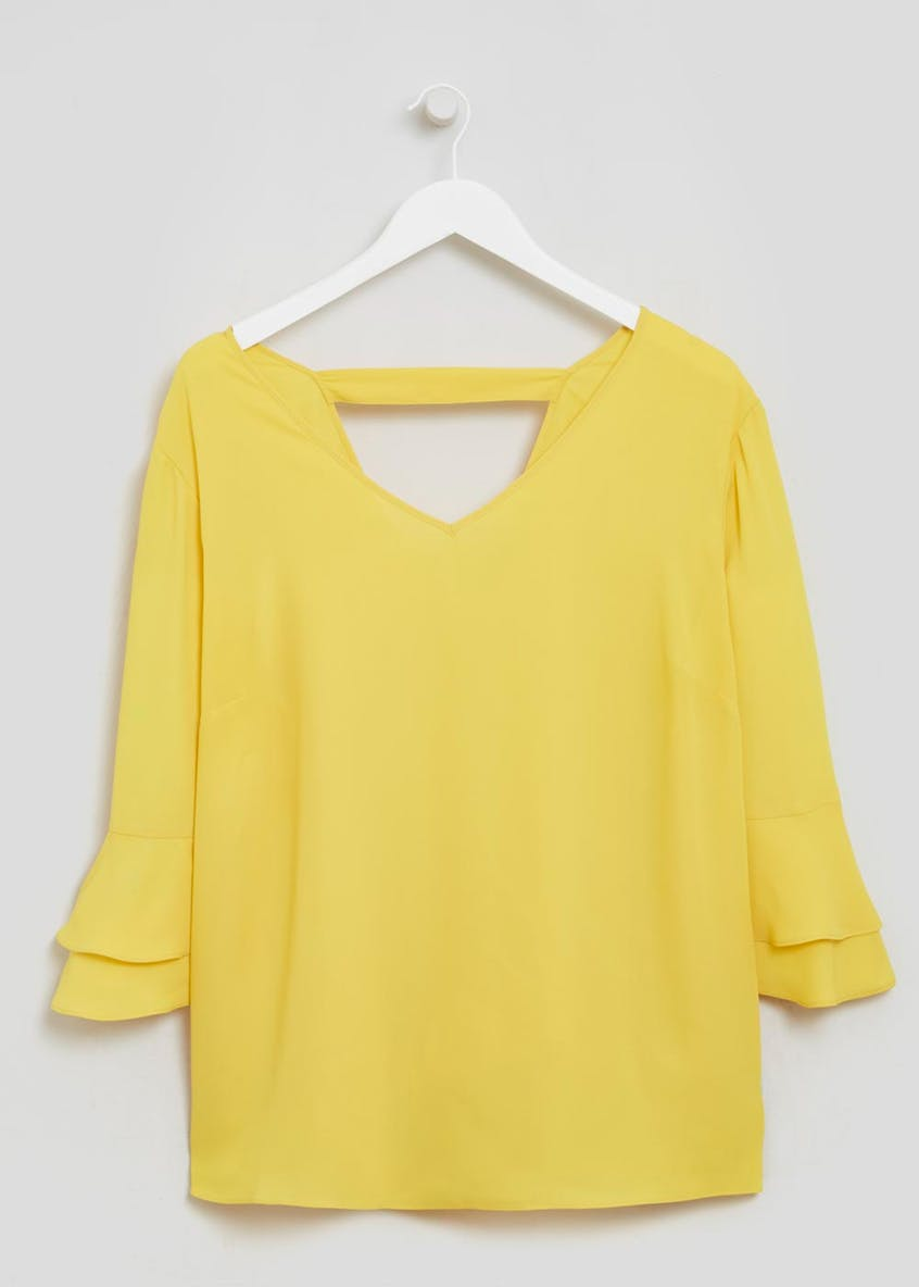 Papaya Curve Frill Bell Sleeve Blouse