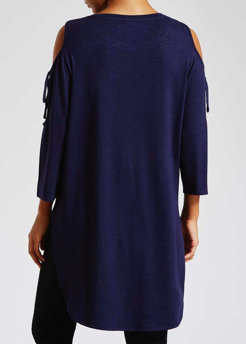 Oversized Curved Hem Cold Shoulder Top