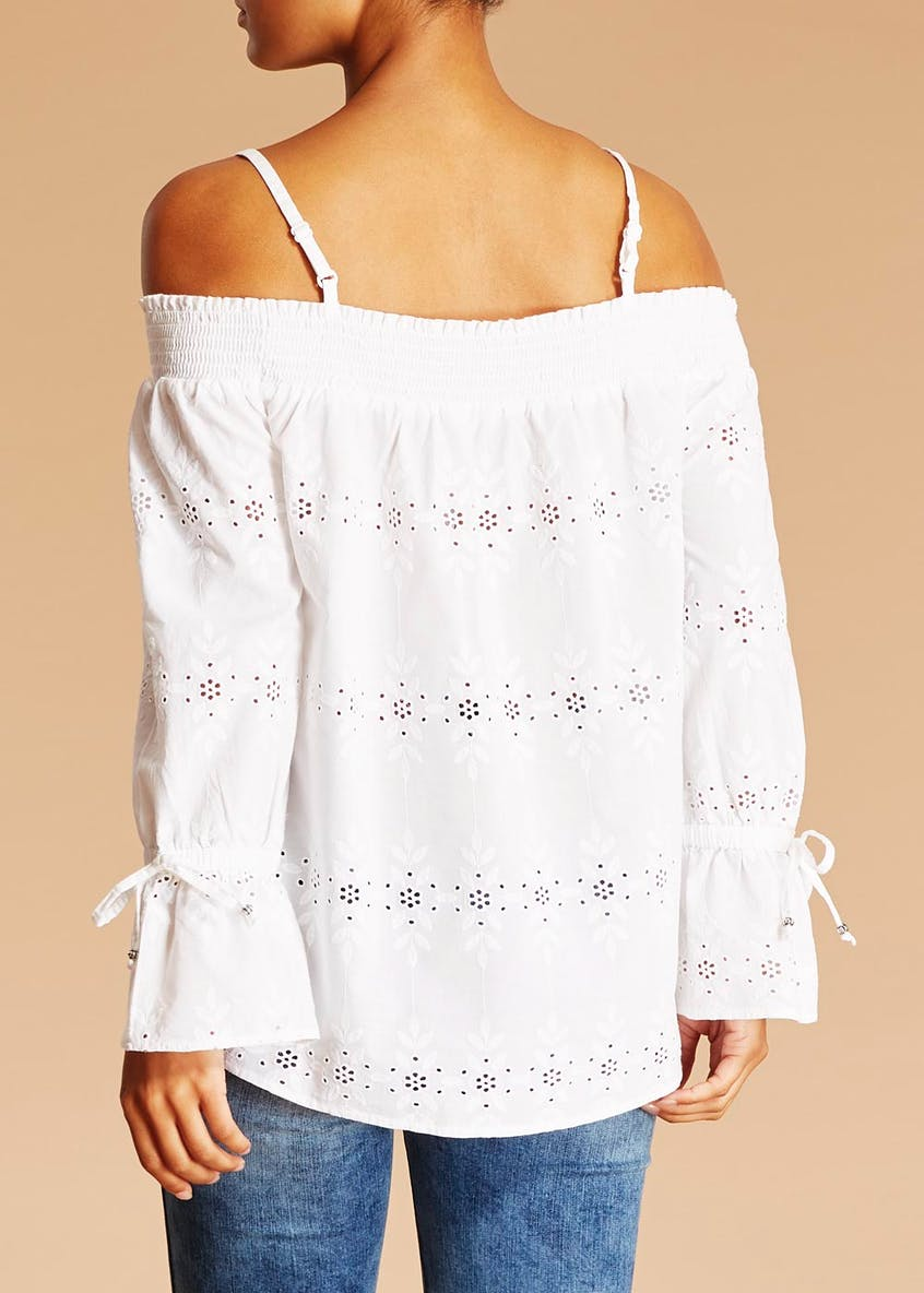 Falmer Embroidered Bardot Top