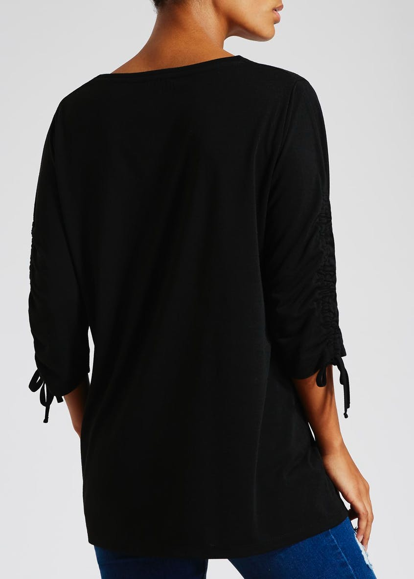 Ruched Sleeve Slogan Top