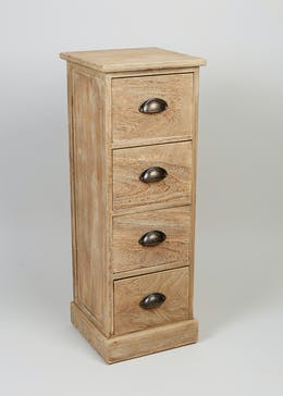 4 Drawer Wooden Storage Unit (80cm x 29cm x 25cm)