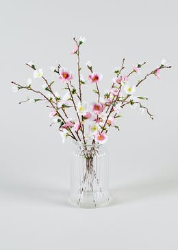 Willow Flower Stems in Ribbed Vase (42cm x 11cm)