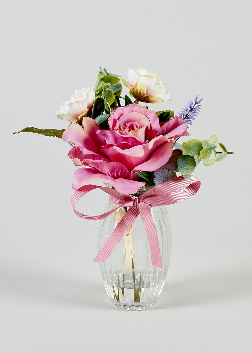 Floral Arrangement in Ribbed Vase