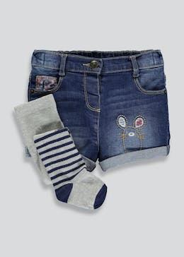 Girls Mouse Denim Shorts & Tights Set (3mths-6yrs)