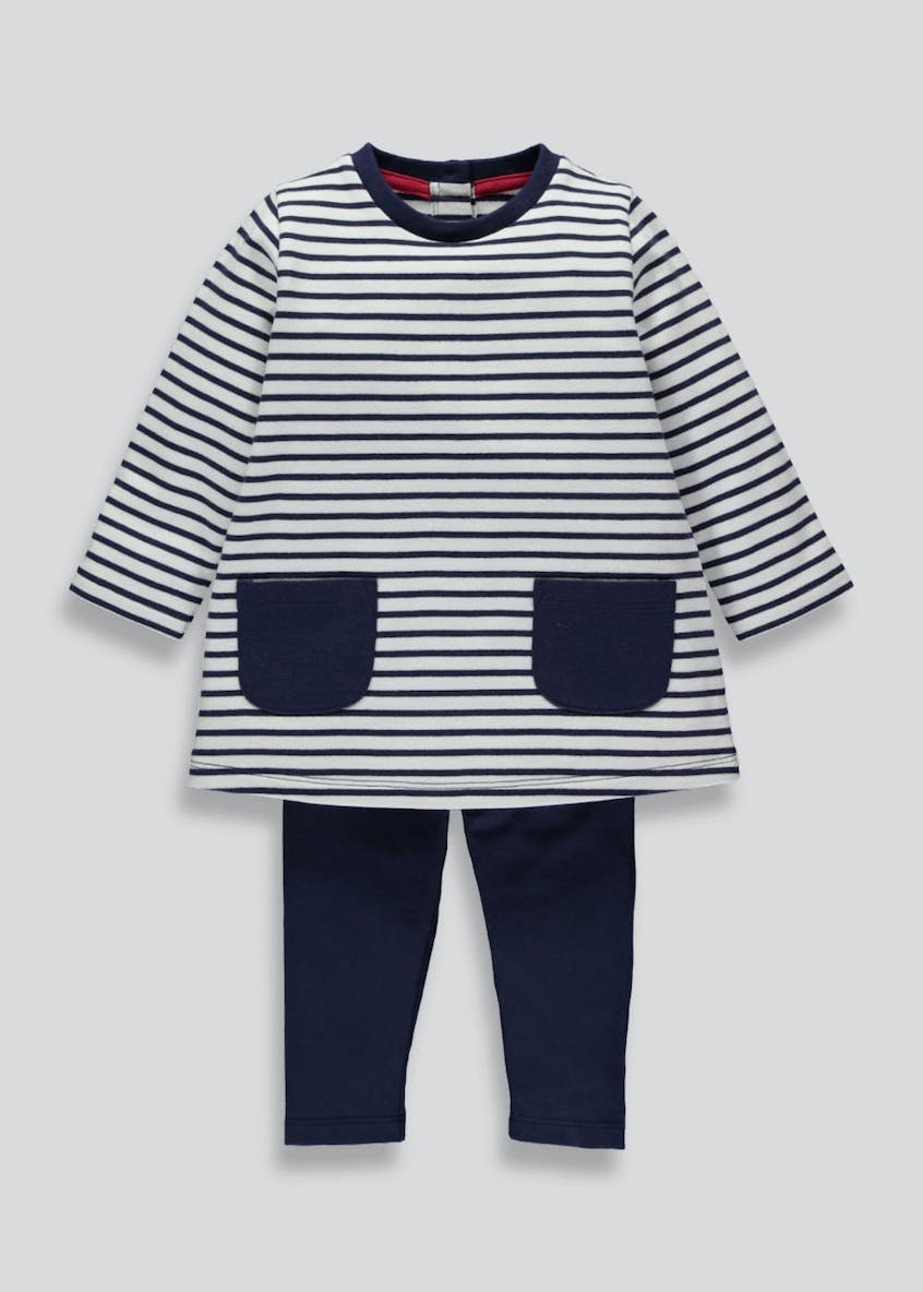 Girls Stripe Dress & Leggings Set (3mths-6yrs)