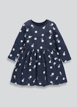 Girls Spot & Mouse Jersey Dress (3mths-6yrs)