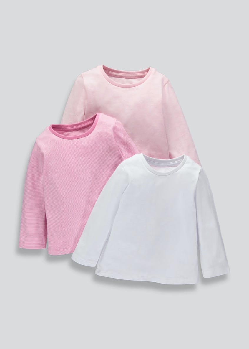 Girls 3 Pack Long Sleeve Jersey Tops (9mths-5yrs)
