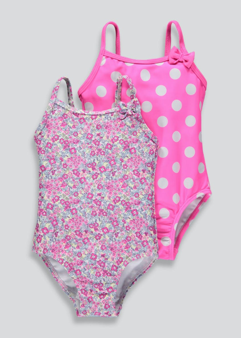 Girls 2 Pack Swimming Costumes (3mths-6yrs)