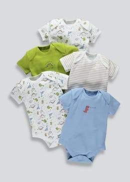 Boys 5 Pack Dinosaur Bodysuits (Tiny Baby-23mths)