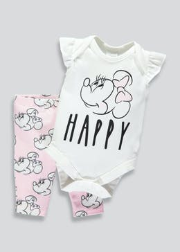Girls Minnie Mouse Bodysuit & Leggings Set (Newborn-9mths)