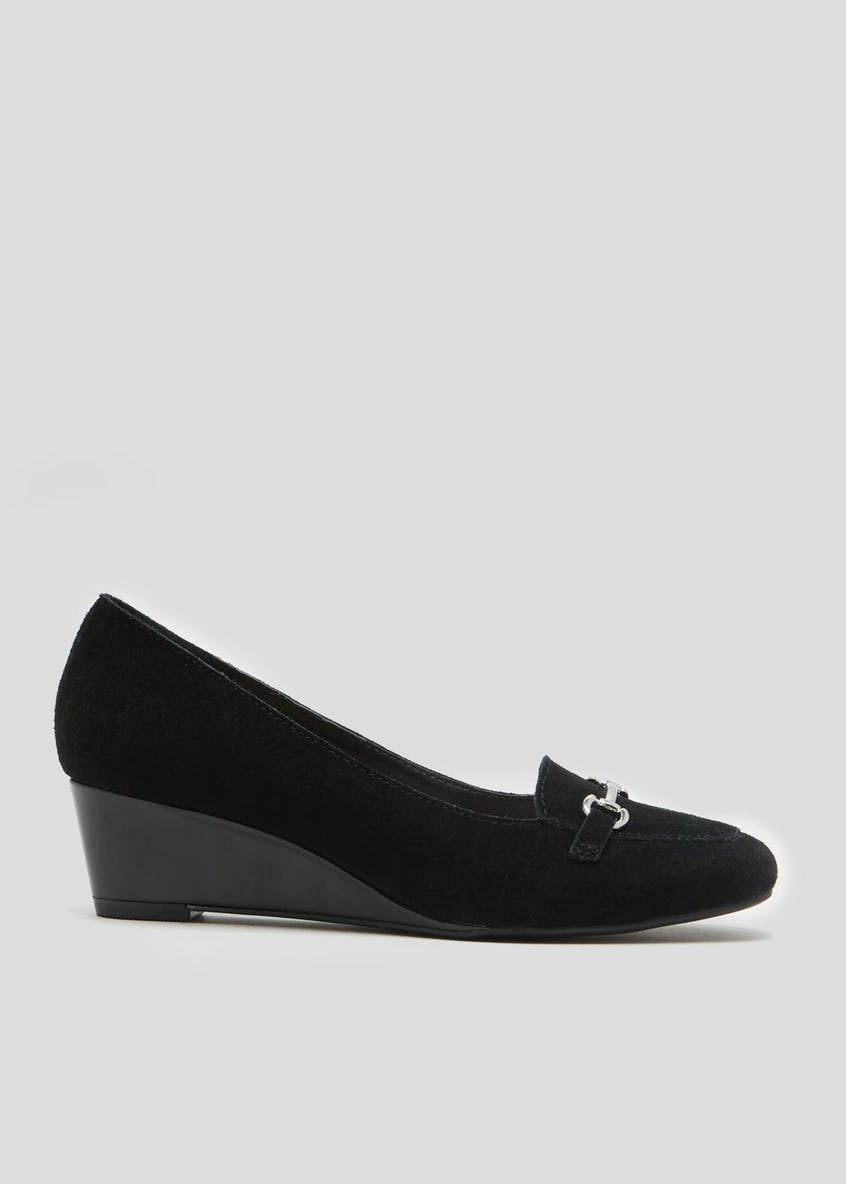 Soleflex Real Suede Wedge Court Shoes