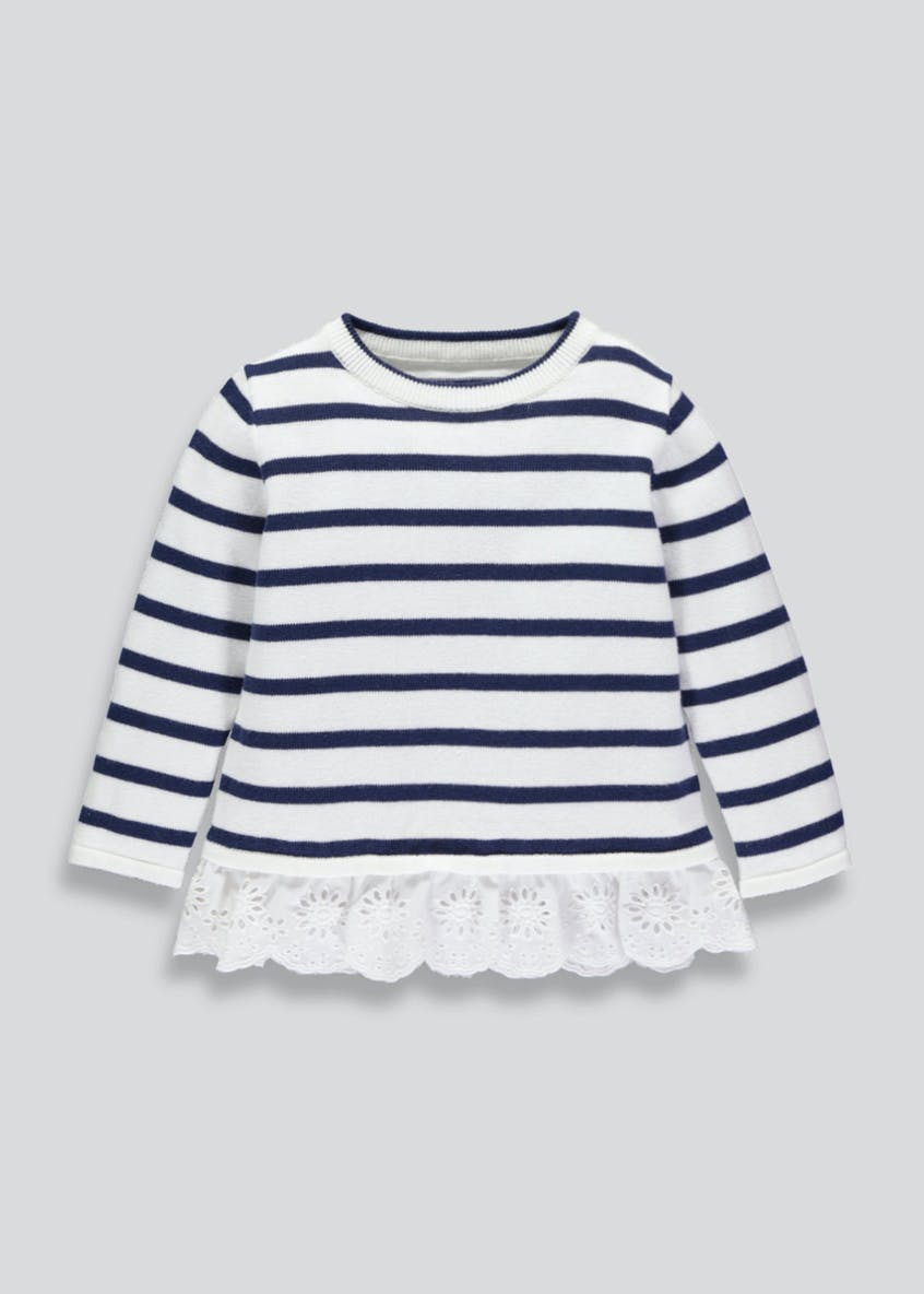 Girls Stripe Embroidered Hem Jumper (3mths-6yrs)