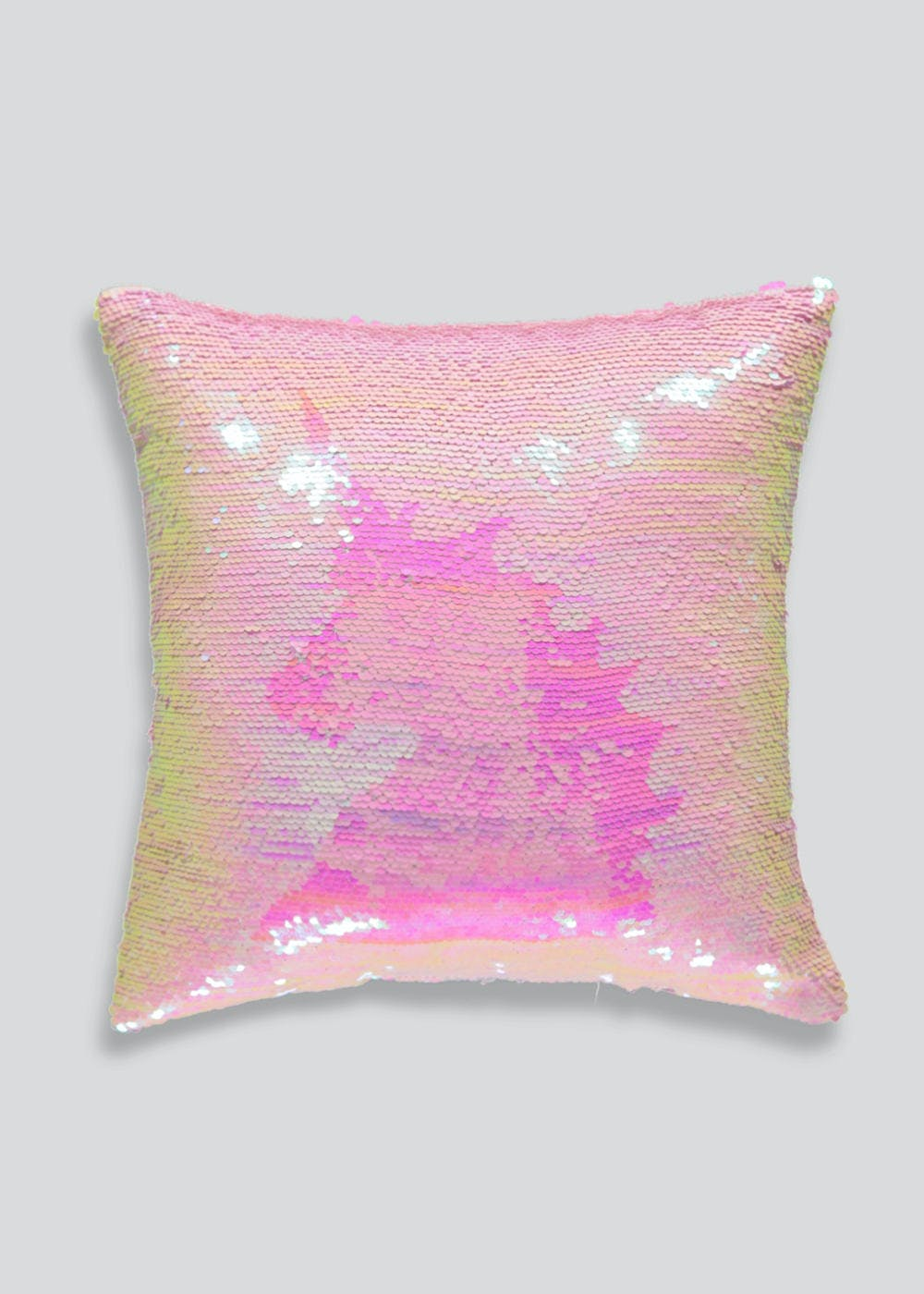 Two Tone Unicorn Sequin Cushion 35cm X 35cm Pink Matalan