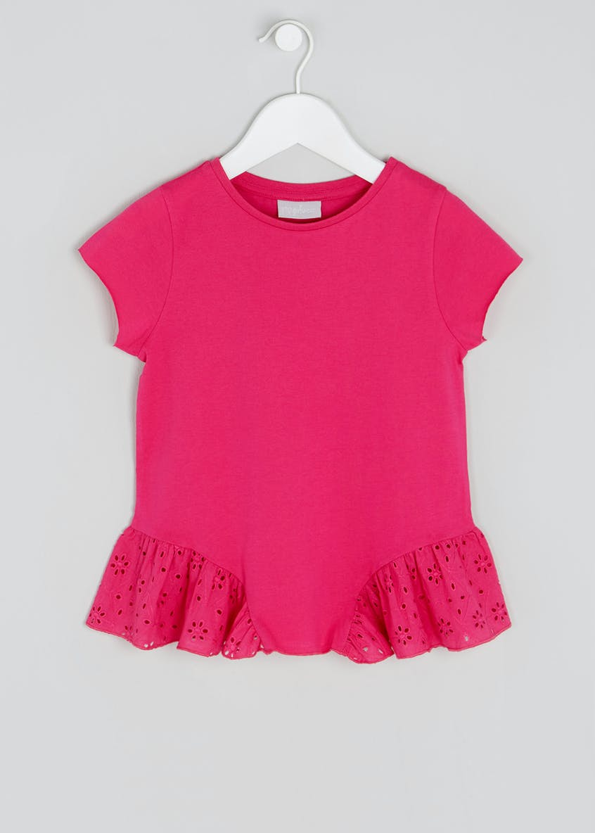 Girls Broderie Hem T-Shirt (4-13yrs)