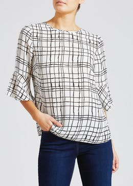 Grid Print Bell Sleeve Blouse