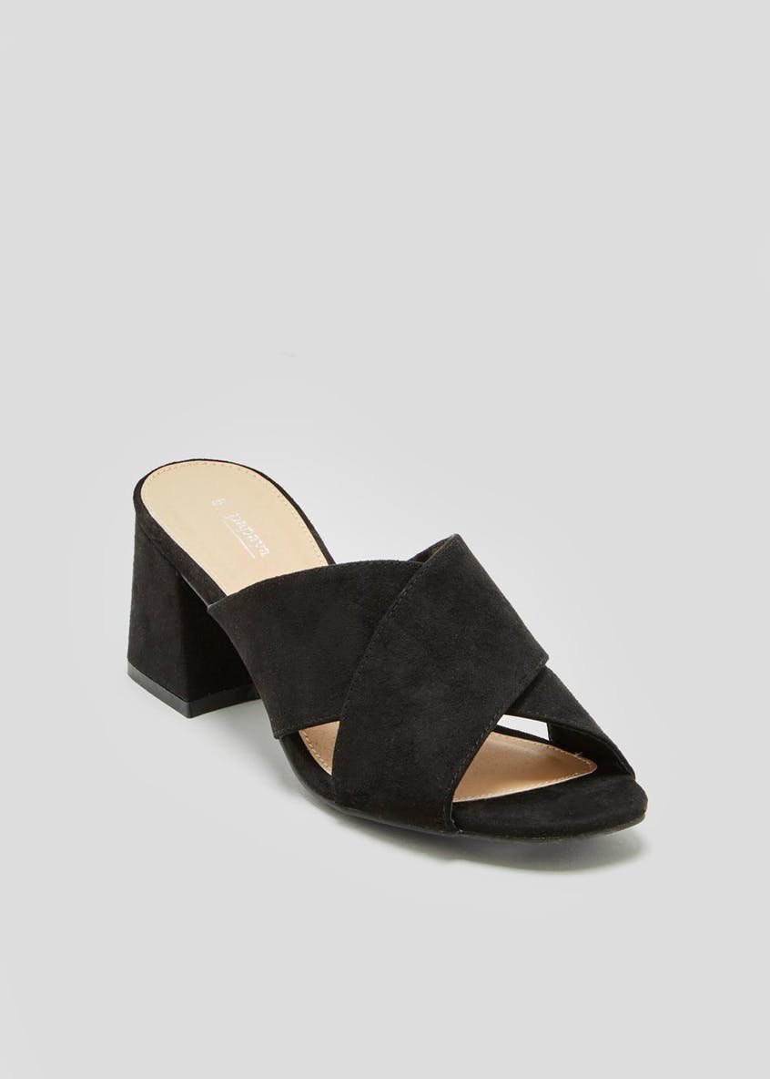 Cross Strap Block Heel Mules