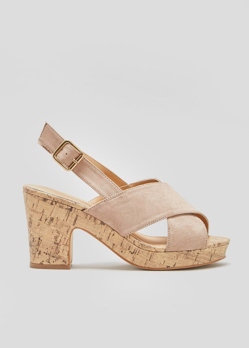 Wide Fit Cork Wedge Block Heels