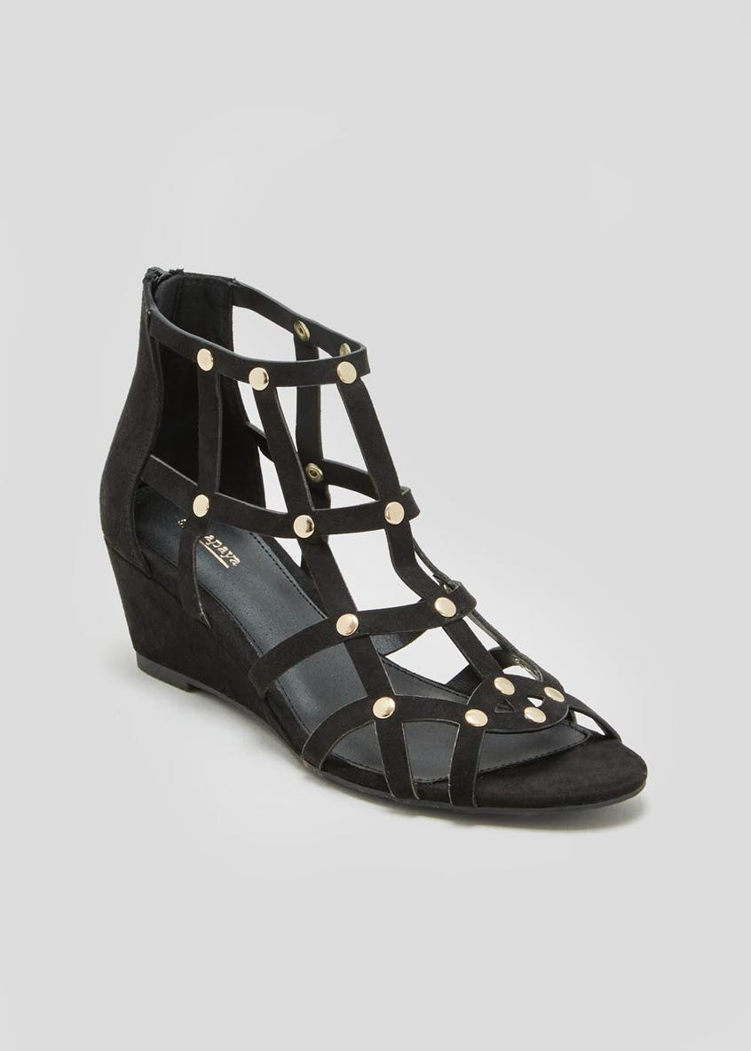 Caged Stud Wedge Sandals