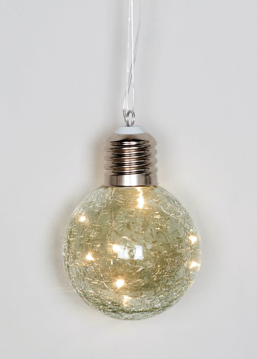 Crackle Glass LED Ball (13cm x 10cm x 10cm)