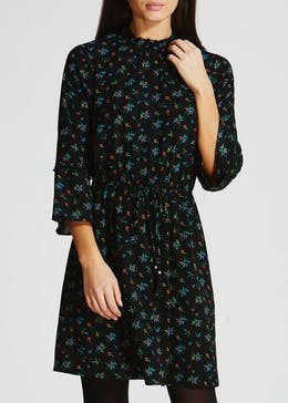 High Neck Bell Sleeve Crepe Dress