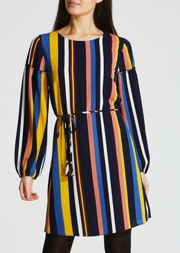 Stripe Balloon Sleeve Dress