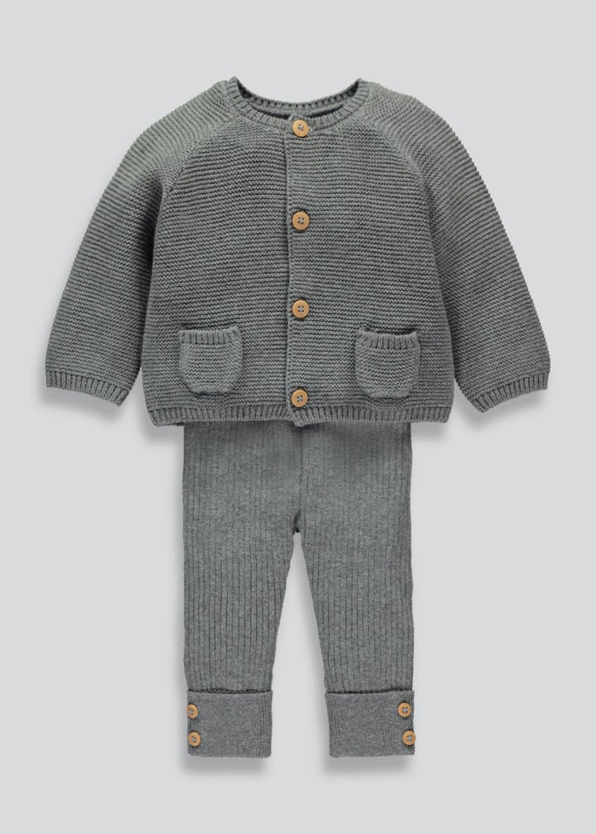 Unisex Knitted Cardigan & Leggings Set (Tiny Baby-18mths)