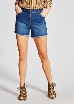 Frayed Stretch Denim Shorts