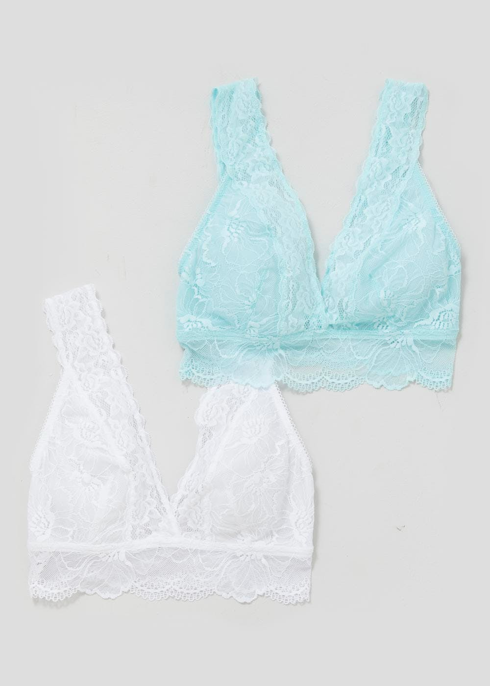 2 Pack Lace Non-Wired Bralettes – Aqua – Matalan