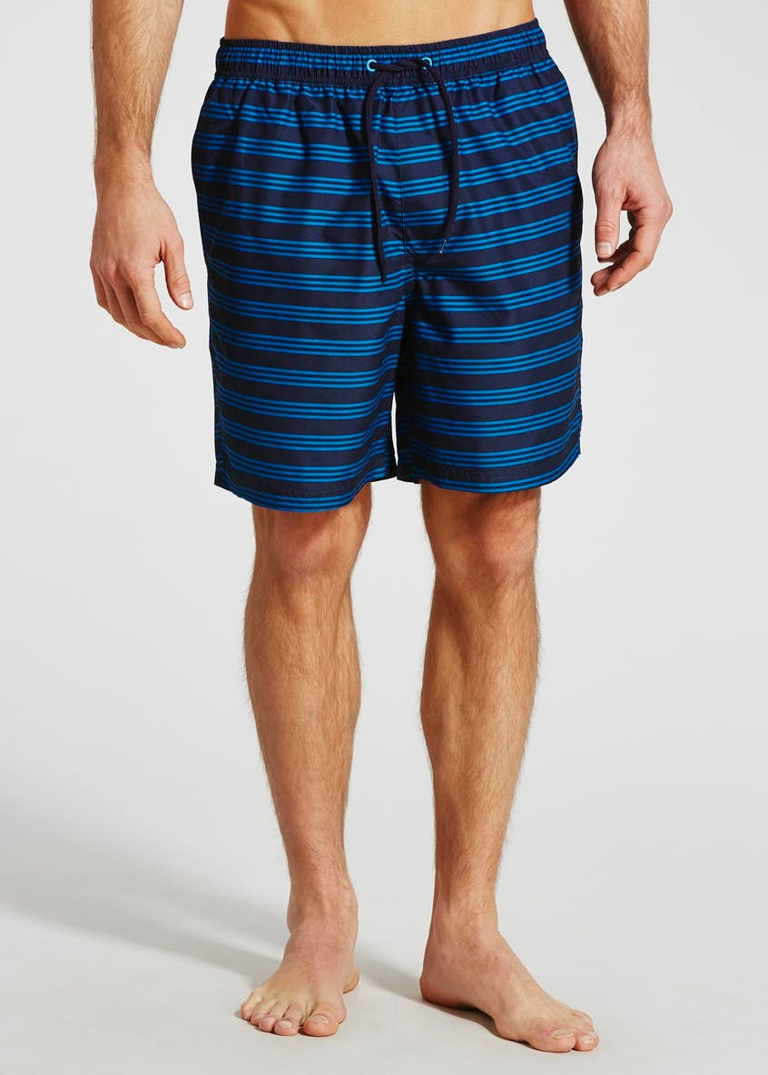 Mid Length Stripe Swim Shorts