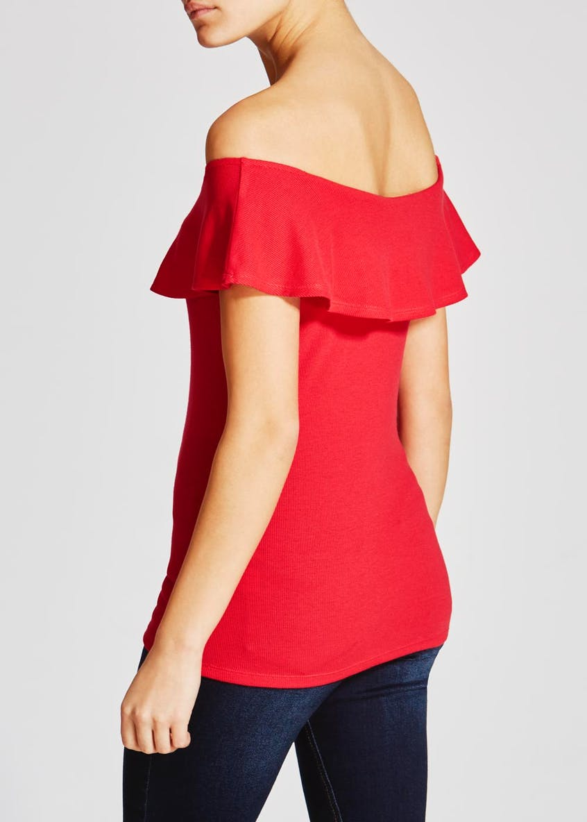 Ribbed Frill Bardot Top