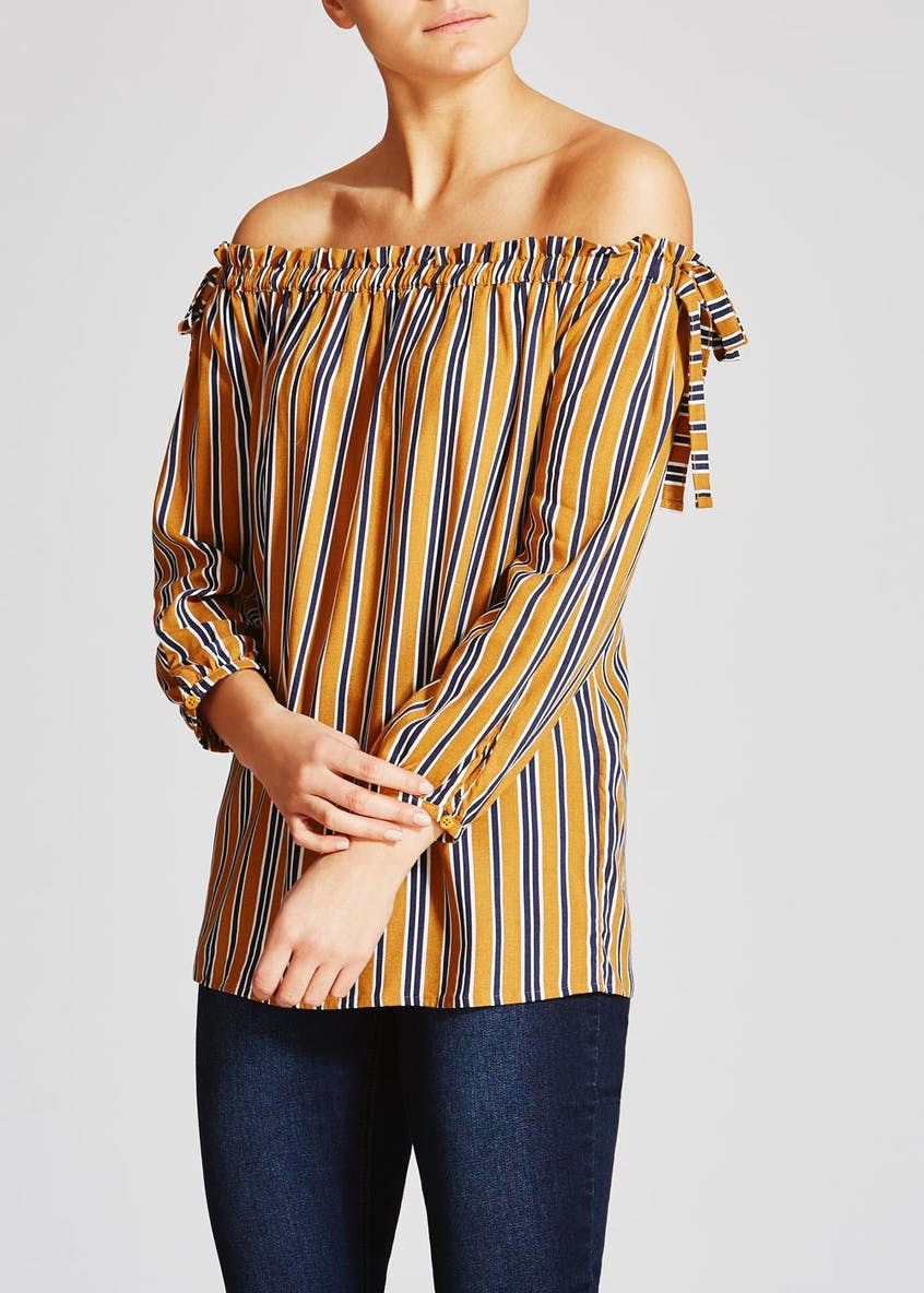 Stripe Bardot Top