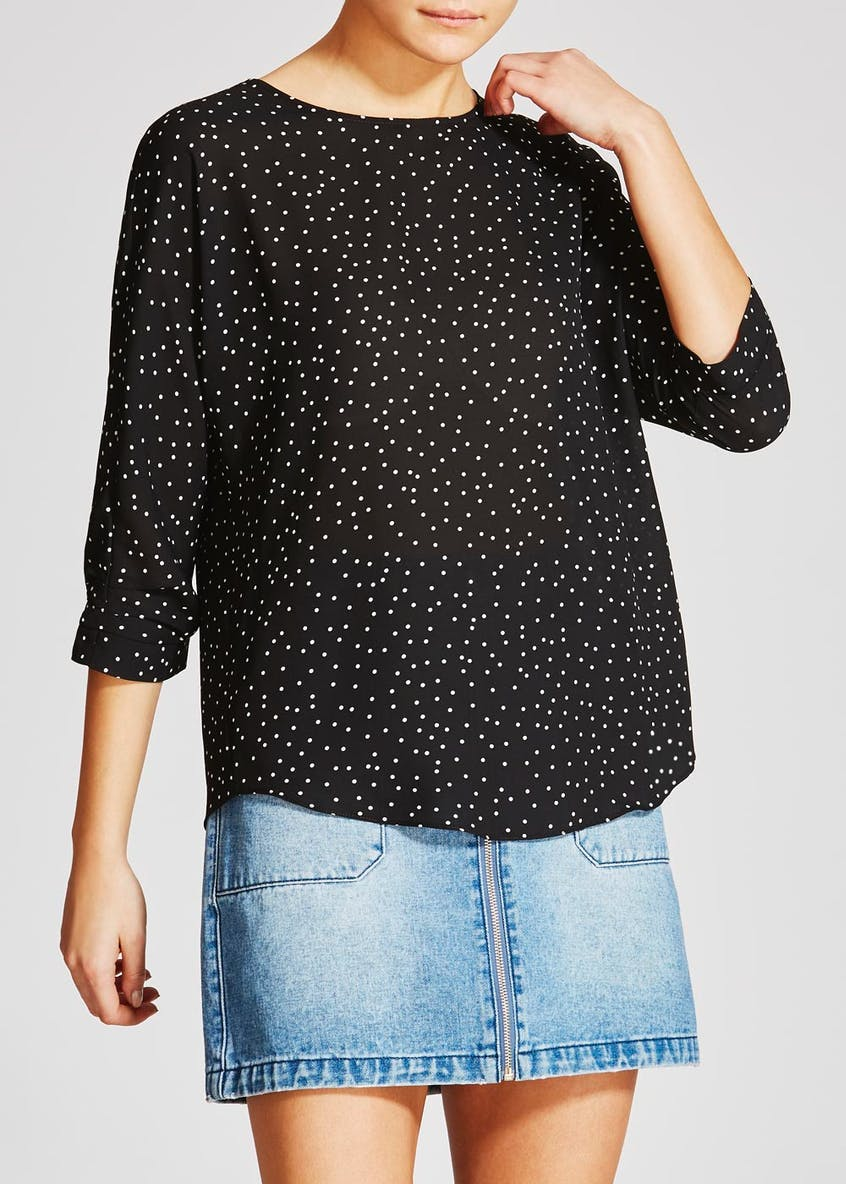 Spot Ruched Sleeve Blouse