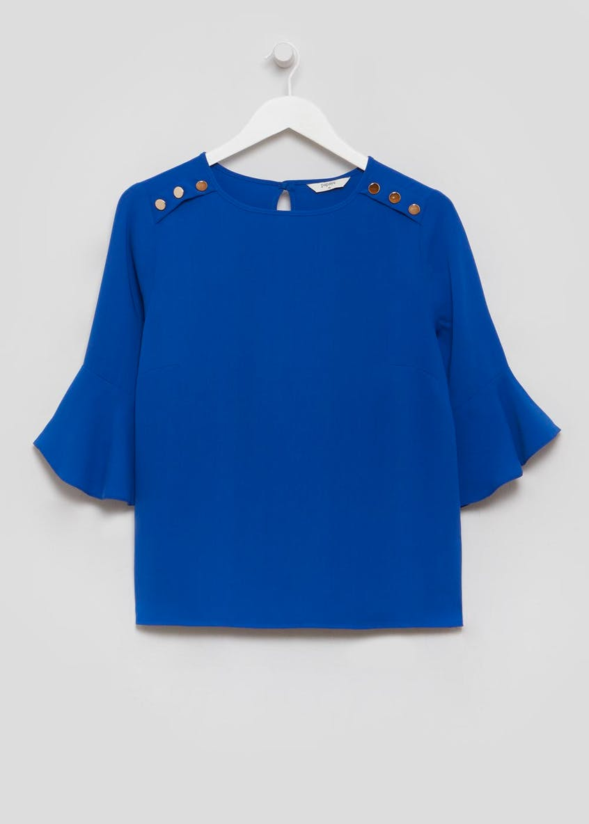 Button Detail Bell Sleeve Blouse