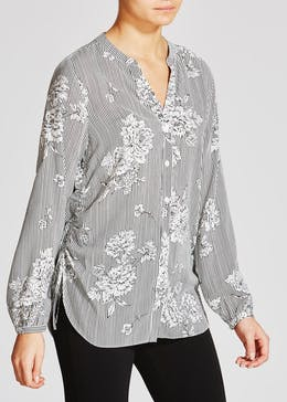 Floral Stripe Grandad Collar Shirt