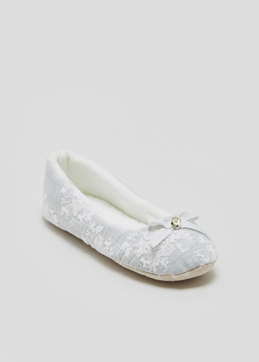 Lace Overlay Ballet Slippers