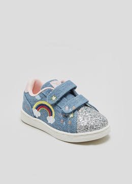 Girls Rainbow Glitter Strap Trainers (Younger 4-12)