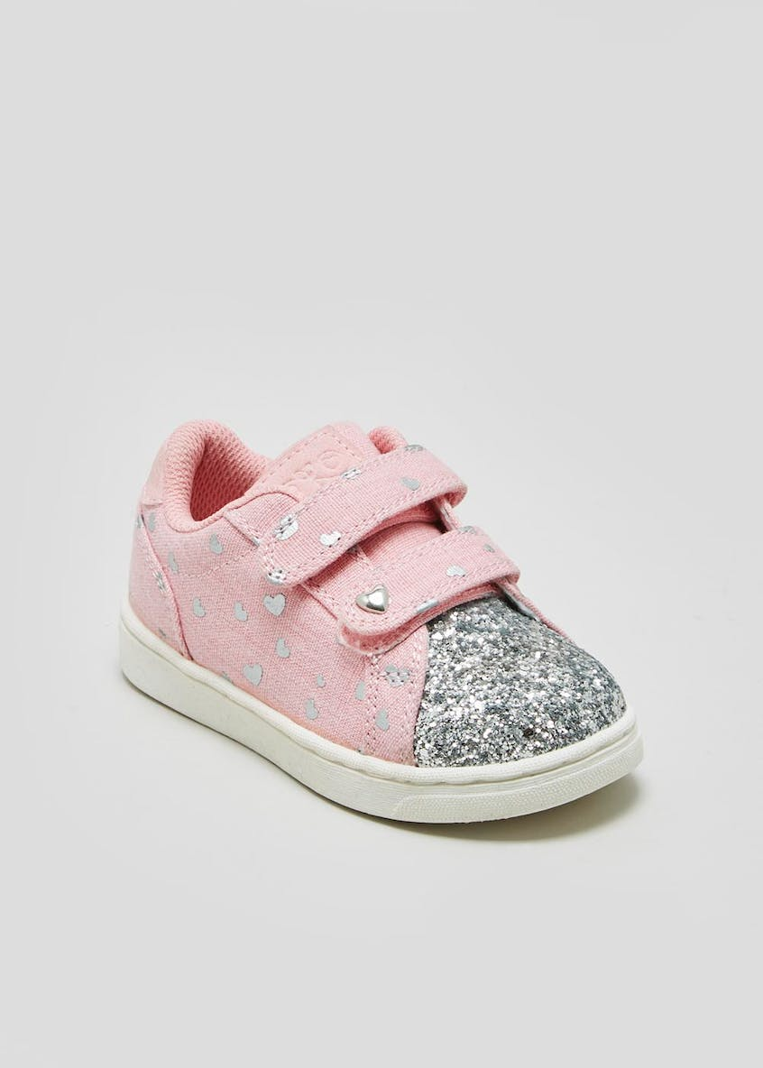 Girls Heart Glitter Strap Trainers (Younger 4-12)