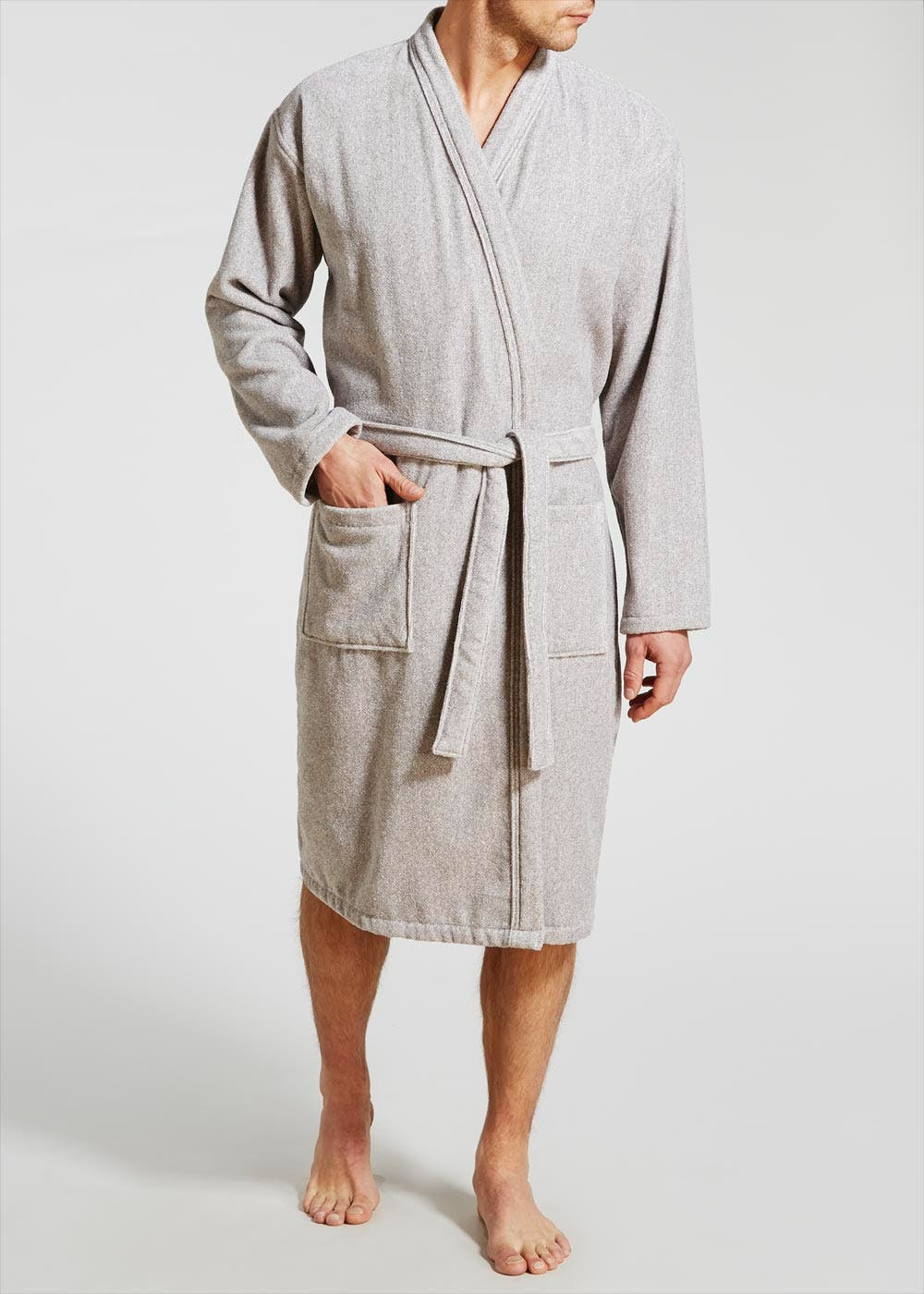 Velour Dressing Gown – Grey – Matalan 83495127e