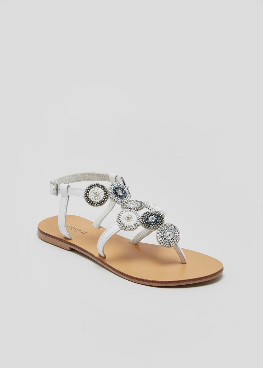 Real Leather Jewel & Bead Embellished Toe Post Sandals
