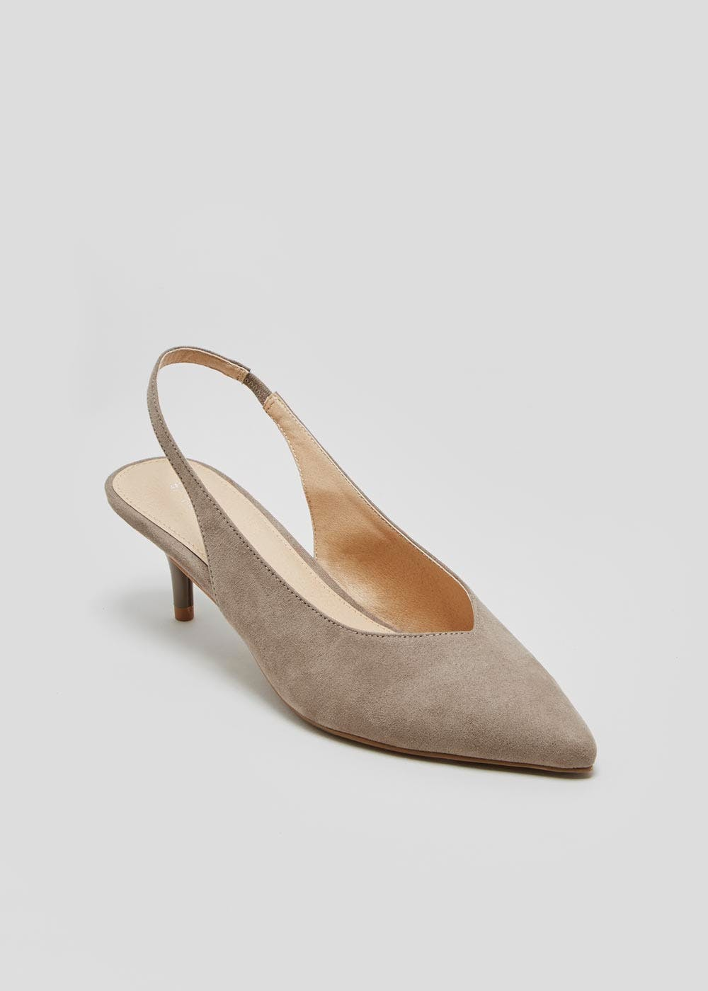 7b7bddb5ac5 Kitten Heel Sling Back Pointed Court Shoes – Light Grey – Matalan