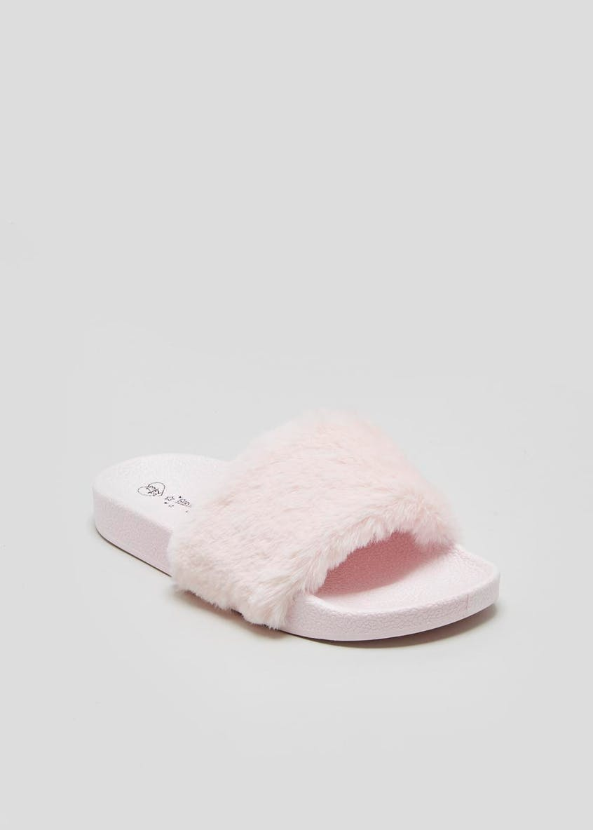 Girls Faux Fur Sliders (Younger 10-Older 5)
