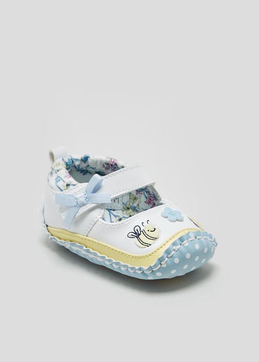 Girls Soft Sole Bee Moccasin Baby Shoes (Newborn-18mths)