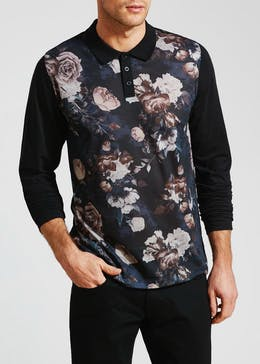 Floral Long Sleeve Polo Shirt
